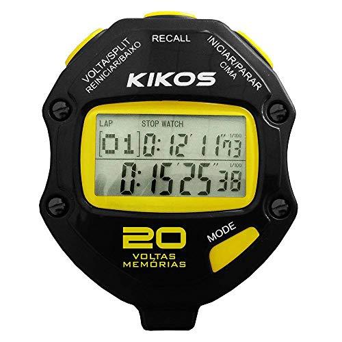 Cronômetro Kikos 20 Voltas CR20 Preto e Amarelo com Temporizador de Contagem Duplo