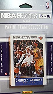 New York Knicks 2015 2016 Hoops Basketball NBA Licensed Factory Sealed 11 Card Team Set with Carmelo Anthony and Kristaps Porzingis Rookie