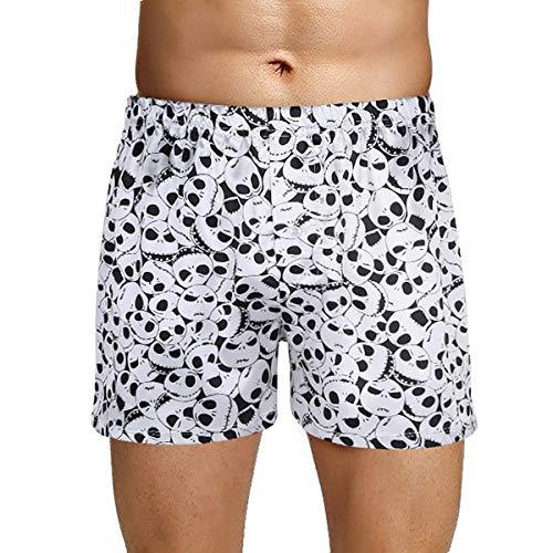 Agoky Herren Boxer Shorts Kurze Hose Satin Unterhosen mit Totenkopf Motiven Männer Trunks sexy Unterwäsche gr. M L XL XXL Weiß M