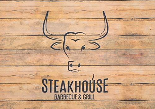 DecoHomeTextil Grillmatte Grillunterlage Bodenschutz Barbecue-Matte Steakhouse Holz 75 x 120 cm Muster wählbar Anti-Rutsch Schwerentflammbar