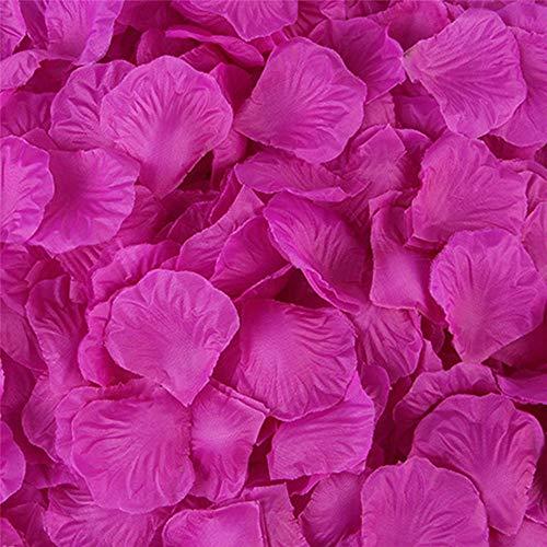 Pétalos de rosa artificiales de seda para boda, decoración de fiesta, alfombra de flores artificiales (5# fucsia, 5000 piezas)