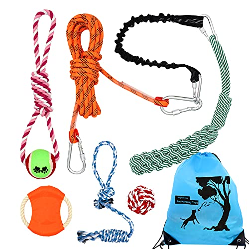 Spring Pole for Dog, Angela&Alex Hanging Bungee Dog Tie Out Tug Toys Exercise Interactive Elastic Webbing Flying Disk Dog Ball Toys Rope Pull Camping Outdoor