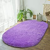 Terrug Fluffy Area Rug for Bedroom Living Room ,Soft Oval Girls Rugs for Kids Room Baby Nursery ,Purple Carpet for Dorm Teen's Room-Home Decor Shaggy Plush Throw Rug 2.6 x 5.3 Feet Purple