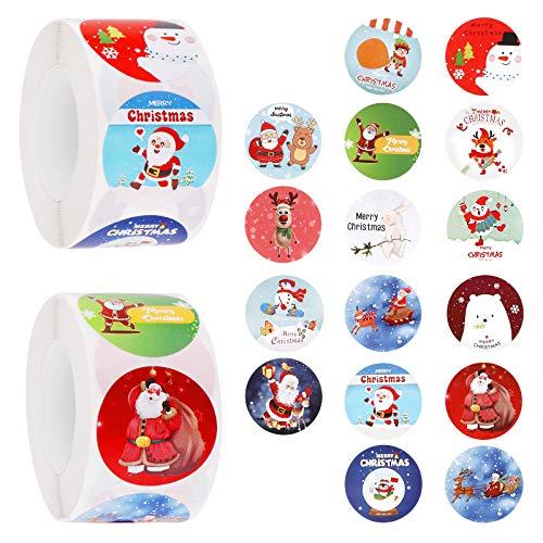 FancyWhoop Rollo de Pegatinas Navideñaspara Niños, 1000 PCS Christmas Stickers Roll Pegatinas de Navidad Papel para Tarjetas Sobres Suministros de Fiesta de Navidad (2 Rollos)