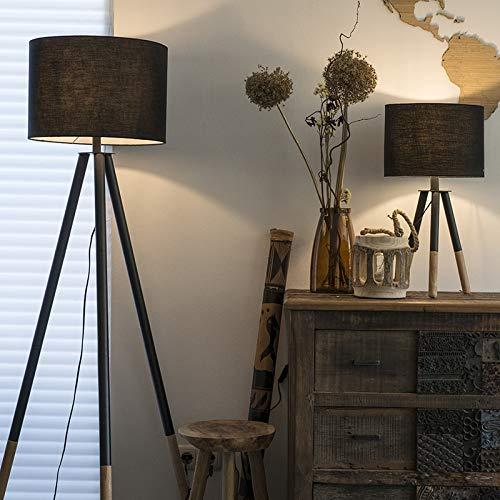 QAZQA - Modern Set aus schwarzer Tischleuchte | Tischlampe | Lampe | Leuchte und Stehleuchte | Stehlampe | Standleuchte | Lampe | Leuchte mit Schirm - Pip | Wohnzimmer | Schlafzimmer - Holz Rund - LED