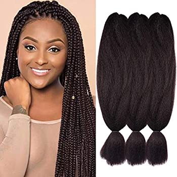 3 Pack 2# Jumbo Braids Hair Crochet Braiding Hair 48inch African Collection Xpressions Synthetic Fiber Braiding Hair Extensions 57g/pack color Dark Brown