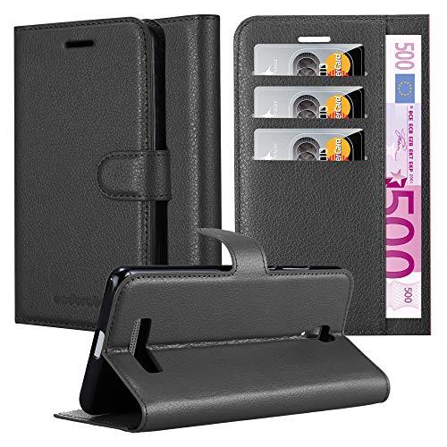 Cadorabo Hülle für ZTE Blade L5 Plus - Hülle in Phantom SCHWARZ – Handyhülle mit Kartenfach & Standfunktion - Case Cover Schutzhülle Etui Tasche Book Klapp Style