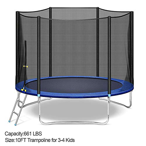 LUKDOF Trampoline 10 FT with Safety Enclosure Net for 3-4 Kids Combo Bounce Jumping Mat and Spring Cover Padding Outdoor Indoor