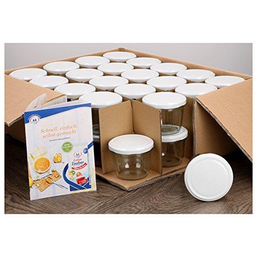 MamboCat 40er Set Sturzgläser 230 ml mit weißem Deckel to 82 inkl. Diamant Gelierzauber Rezeptheft Marmeladengläser Einmachgläser Einweckgläser