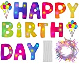LEOGLO Happy Birthday Yard Signs with Stakes and Led String Lights - 15 Inches Big Size Colorful Lawn Letters and Balloons for Birthday Decorations - Large and Lighted Outdoor Party Decor