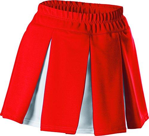 Alleson Girls Cheerleading Multi Pleat Skirt, Red/White, Medium