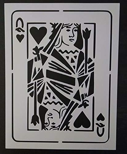Stencil for Painting on The Wall Writing/Signage/Drawing/Decorate Fabric/Wood/Glass Craft DIY Playing Card Jack Queen King Ace Hearts Spades Clubs Diamonds 8.5' x 11' Stencil