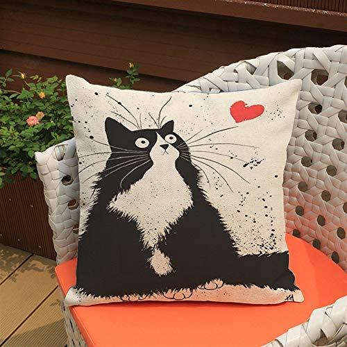 YUTING Gato Negro De Algodón Y Lino Impresión Almohada Comercio Exterior Decoración del Hogar De Lino del Amortiguador del Sofá (Color : A)