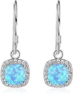 Ohrstecker Ohrringe Opal Feueropal hellblau quadratisch versilbert rotgoldfarben