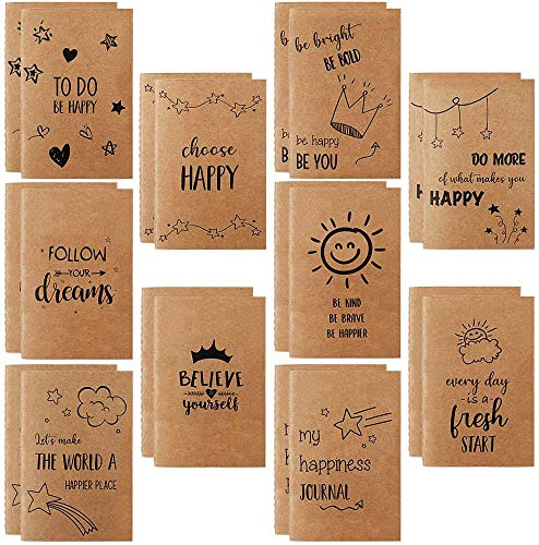 "JPSOR 20 Pack Small Notebook for Kids, Lined Notebook Journals, 3.5"" x 5.5"" Pocket Notebook with 10 Different Happy Designs, Inspirational Notebook 80 Pages for Kids,Students, Office, School Supplies"