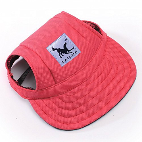leconpet Baseball Caps Hats with Neck Strap Adjustable Comfortable Ear Holes for Small Medium and Large Dogs in Ourdoor Sun Protection (L, Red)