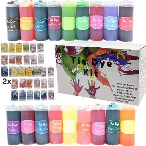 Tie Dye Kits for Kids and Adults│18 Colors X-Large 120ML Bottles, Dye Powder...
