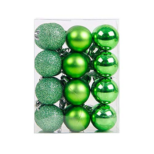 """lasenersm 24 Pieces 1.18""""/3cm Shatterproof Christmas Ball Ornaments Packed in Plastic Barrel Shatterproof Christmas Tree Balls Ornament use for Christmas Small Tree Ornaments Wedding Birthday Green"""