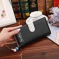 リンファッションドットパターン2つ折りロングデザインPUレザージッパー財布小銭入れ女性用(ブラック) Chenhuis (Color : Black)