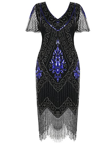PrettyGuide Women's 1920s Dress Art Deco Cocktail Dress Short Sleeve 3XL Blue Silver