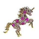 Culer Escudo Broche De La Aleación De La Vendimia De La Broche del Unicornio Pecho Pin Rhinestone Broche Accesorios Ropa