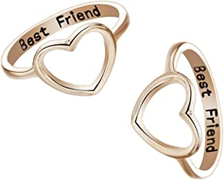 2 Pack Letter Best Friends Friendship Rings Hollow Heart Shape Engagement Rings for Women Girls Promise Wedding Rings Set
