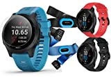 Garmin Forerunner 945 (Tri-Bundle) Extra Band Bundle | Includes Extra Silicone Watch Band (Red), Black & Blue Silicone Bands, HRM-Tri & HRM-Swim Chest Straps & PlayBetter Screen Protectors (x4)