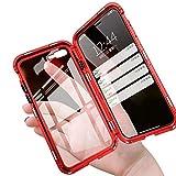 iPhone8 plus ケース iPhone7 plus カバー 透明 両面 強化 ガラス アルミ バンパー 360°全面保護 アイフォン 7/8 プラス ケース マグネット式 ワイヤレス 充電対応 軽量 薄型 擦り傷防止 耐衝撃 レッド