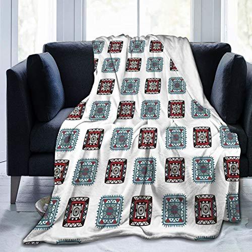 Manta esponjosa, líneas geométricas cuadradas, formas tribales aztecas con detalles étnicos, imagen folk batik, ultra suave, manta para bebé, cama, cama, cama, TV, 203 x 152 cm