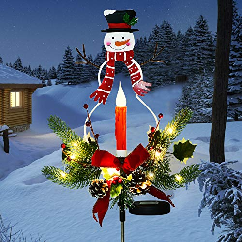 Doingart Outdoor Solar Christmas Light Decorations, LED Candle, Snowman Christmas Light with Faux Pine Cones, Foliage Accents Garden Decorative Stake