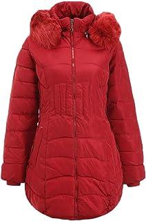 maweisong 女性は暖かいフォークス毛皮の襟スリムフィット半ば長さパッドコートコートキルトジャケット