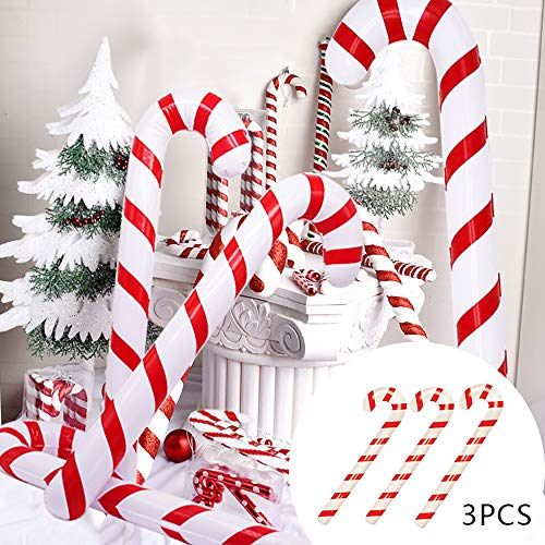 Kungfu Mall 3pcs 90cm Inflatable Candy Canes Novelty Giant Candy Cane Stick Inflatable For Christmas Decoration