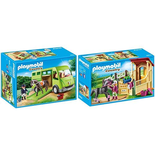Playmobil 6928 - Pferdetransporter &  6934 - Pferdebox Araber