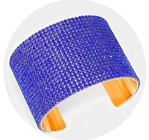Royal Blue Gold Wide Cuff Crystal Rhinestone Wedding Pageant Formal Bracelet