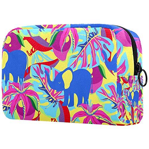 Mango Bloemen Palm Bladeren En Olifanten Tropische PatroonKleine Make-up Tas voor portemonnee Reizen Make-up Pouch Mini Cosmetische Tas voor Vrouwen