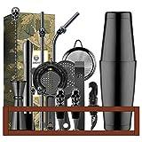 Cocktail-Shaker-Set mit Bambus-Ständer, Barkeeper-Set zum Mischen von Edelstahl-Bar-Werkzeug, Geschenk-Set