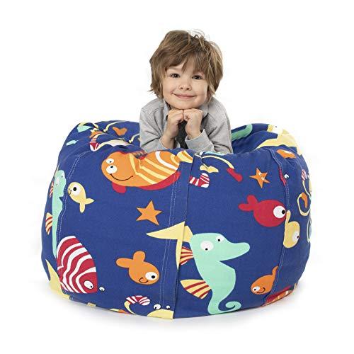 BANBALOO- Bolsa Puff XXL para guardar juguetes de peluche- Saco almacenamiento para cojines y mantas convertible en sillón para niños- Organizador infantil.