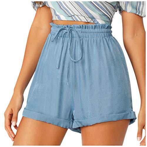 Andouy Damen Elastischem Taillenband Schleife Shorts mit Paperbag Hoch Taille Sommer Lounge Shorts(2XL.Himmelblau)