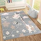 | Kinderteppiche Giraffe mit Schmetterling und Blumen | Kinderteppich für Mädchen und Jungs | Teppich für Kinderzimmer Blau | Schadstofffrei Kinderzimmerteppiche geprüft von Öko-Tex