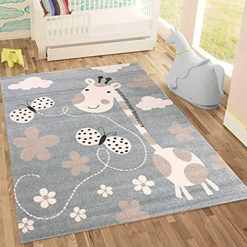 Tapis pour enfant girafe avec papillon et fleurs - Tapis pour enfant pour fille et garçon - Tapis pour chambre d