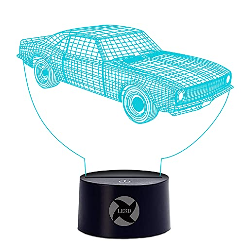 3D Optical Illusion Night Light - 7 LED Color Changing Lamp - Cool Soft Light Safe For Kids - Solution For Nightmares - Muscle Car