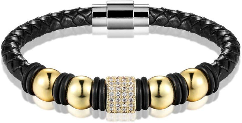 Bracelet Men,Fashion Leather gold Black Bracelet Men's Weave Beads Men's Bracelets Women's Casual Personality Charm Bracelet Bracelet Jewelry