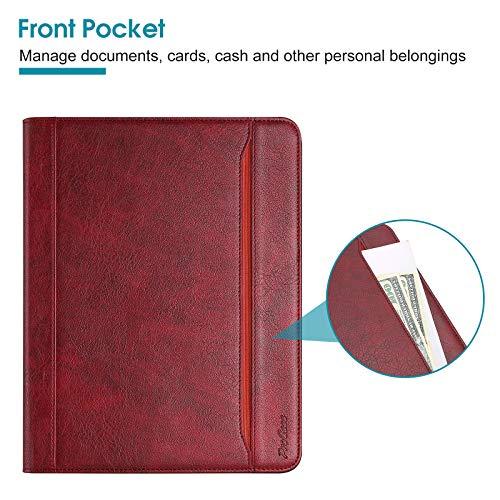 ProCase Leder Hülle mit Stifthalter für iPad Air 4 10.9 Zoll 2020 [Unterstützt das Laden von Pencil 2.] mit Kartenfach Multi Blickwinkel, Premium Lederhülle PU Folio Ständer Case Cover -Rot