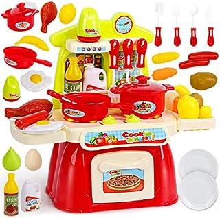 YOTDIK おままごと キッチンセット 人気 おもちゃ 食材 野菜 調理器具 果物 食器 たまご ごっこ遊び (赤)