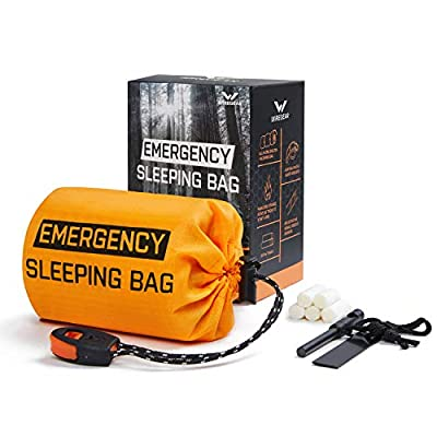 W WIREGEAR Bivy Bag Survival Sleeping Bag Emergency Sleeping Bag Lightweight and Waterproof Includes Fire Starter 5 Fire Tinders Suitable for Hiking Camping Outdoor Activities