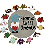 Cute Gnome Door Hanger Home Sweet Gnome Faceless Doll, Handmade Welcome Sign with Interchangeable for Home, Detachable Hanging Ornaments, Celebrate Different Holidays Logo