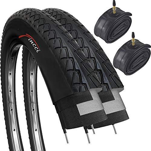 Fincci Set Par 26 x 2,125 Pulgadas 57-559 Cubiertas con Cámaras de Aire Presta Válvula Interior para Carretera MTB Montaña Hibrida Bici Bicicleta (Paquete de 2)