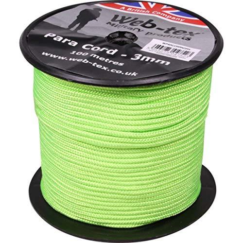 Web-tex - Fallschirmschnur-Rolle - 3 mm dick - 100 m Länge - Neongrün