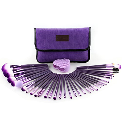 Glow Purple Make-up Brushes Set - 34-teiliges Make-up-Pinsel-Set mit Make-up-Pinsel-Reiniger für Gesichts- und Augen-Make-up - Wildleder-Stoffetui - Handliches kosmetisches Make-up-Kit - Lila Farbe