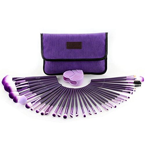 Glow Purple Make-up Brushes Set - 34-teiliges Make-up-Pinsel-Set mit Make-up-Pinsel-Reiniger für...
